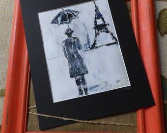 Eiffel Tower Print, Man with Umbrella, Parisian Man, Man in Paris Print, Parisian Print, Father's Day Gift, Man Cave Art