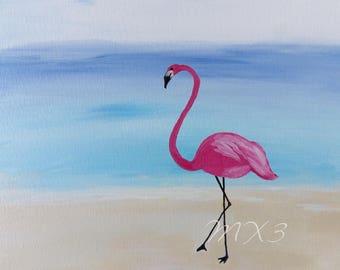Flamingo Print, Pink Flamingo, Flamingo Art, Beach Scene, Flamingo Picture, Bird Print, Tropical Wall Art, Mother's Day Gift, Bathroom Art,