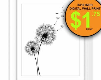 Dandelion Wall Art Print, 8x10 Inch, Instant Download, Digital Print