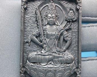 meteorite seymchan Natural genuine amulet carving Pendant Ākāśagarbha bodhisattva 78.1gm F705