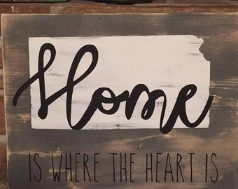 Home is where the heart is kansas state outline sign, rustic wooden sign
