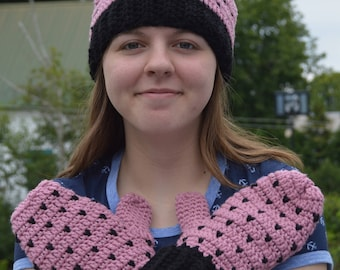 Woman's Pink&Black Snowflake Slouchy Hat and Mitten Set