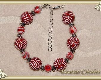 Bracelet red white Golden spiral 101027