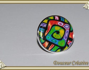 Black and multicolor ring round 102034