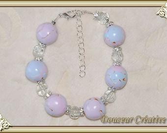Light gold pearls 101011 Blue rose bracelet