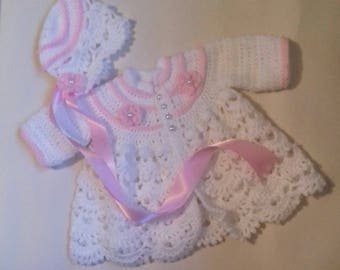 handmade traditional matinee and bonnet set