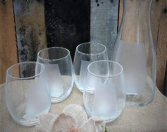 5-Piece Bar Set Carafe with 4 wine/juice glasses  State of Alabama Ready to ship