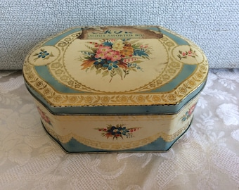 Vintage English toffee tin metal confectionary sweets candy tin blue floral design