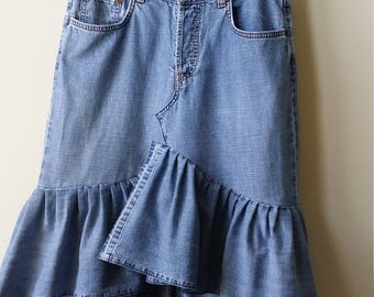 Women's Reconstructed Asymmetrical DENIM RUFFLE SKIRT, Size 6