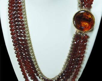 Multi Strand 1960s, Brown and Gold Beaded Necklace (2859)