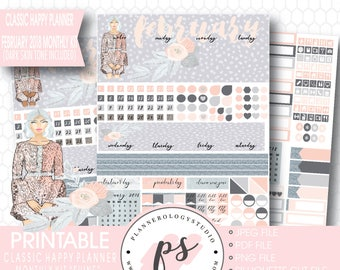 Shine February 2018 Monthly View Kit Digital Printable Planner Stickers (Dark & Light Skintone) (for Classic Happy Planner)|JPG/PDF/Cut File