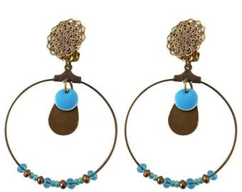 Earring clip turquoise Luxor (made in France)