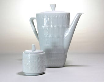 Porcelain Tea Pot  and sugar bowl vintage white porcelain Coffee Tea Pot