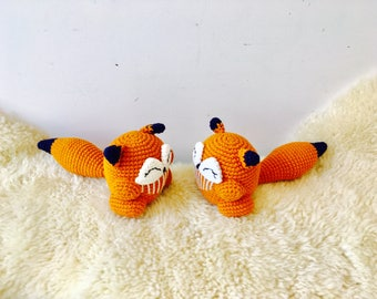 PRE-ORDER Crochet Fox Rattle, Crochet Fox Rattle, Baby Rattle, Crochet Baby Rattle, Baby Teething Toy