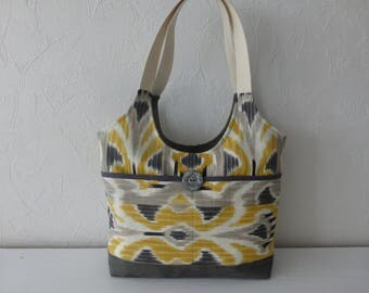 Bag, canvas, printed yellow and gray, ethnic, handmade