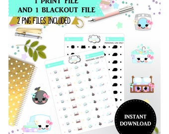 Printable chores stickers - Printable planner stickers, Planner stickers printable, Kawaii planner stickers printable, Print and cut