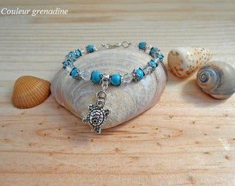 Turtle bracelet turquoise beads beads