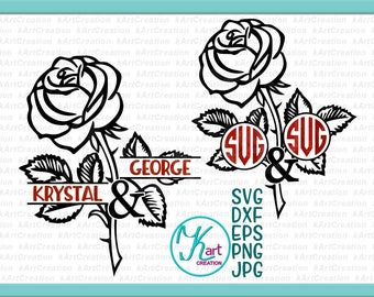 couple monogram svg, rose monogram svg, mr and mrs svg, wedding monogram svg, valentine monogram svg, rose split monogram, silhouette rose