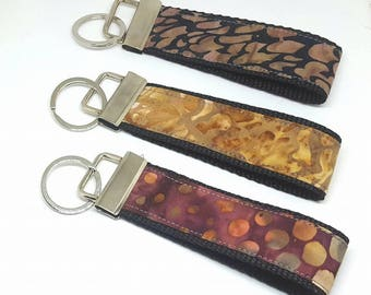 Batik Fabric clamp Keyring, single or 3-pack purchase