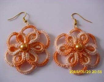 Orange tatting earrings