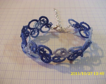handmade tatted lace bracelet blue