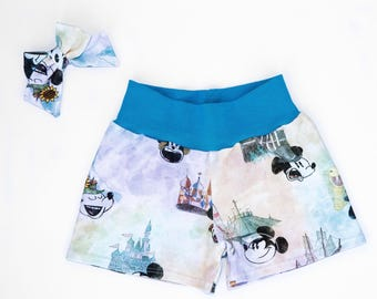 Mickey Mouse Girls Shorts, Mickey Mouse Baby Shorts, Magic Kingdom Shorts Mickey Mouse Hair Bow