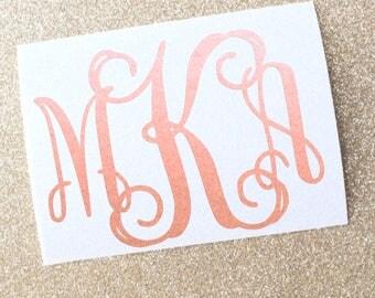 Rose Gold Vine Monogram Vinyl Decal, Custom Initials, Rose Gold Chrome, Metallic, Glitter