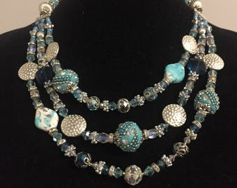 Turquoise Multi Strand Statement Necklace