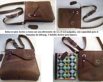 Leather messenger hand made bag