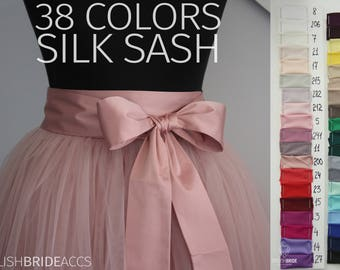 Silk Sash, Silk Satin Bow Tulle Skirt Matching 38 Colors of Silk Blush Pink Blue Green White Ivory Yellow Purple Lavender