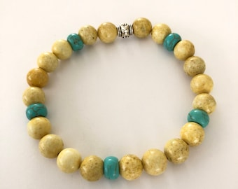 Yellow and turquoise beaded bracelet