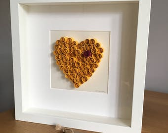 Yellow quilled paper heart, Sunny Love, framed quilled art