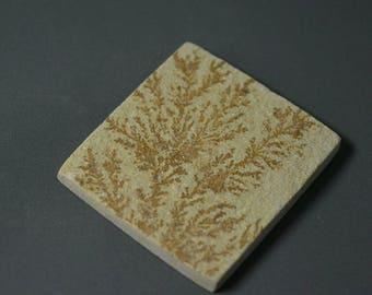 40% OFF...Psilomelane Druzy.. Psilomelane cabochon.. Dendritic limestone...35.6x32.6x3.9 mm...49 Cts...#2621