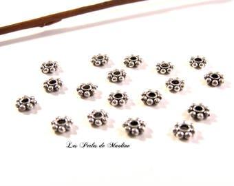 Set of 5 beads Rondelle flower - 6mm silver - Ref: Z593