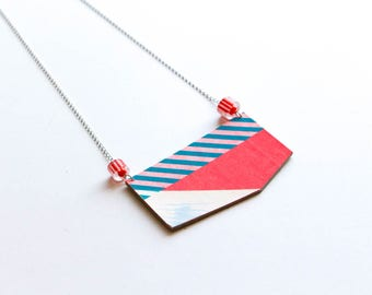 Colored Geometric Necklace in recycled paper - upcycled - collage stripes