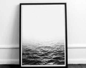 Monochrome ocean. Black and white ocean. Beach photography. Ocean artwork. Sea poster. Nature poster. Printable sea.