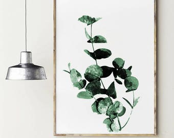 Eucalyptus poster. Printable eucalyptus branch. Green leaves watercolor. Minimalist plants. Nature poster. Watercolor leaf. Botanical poster