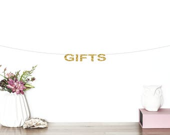 Gifts Glitter Banner | Wedding Banner | Wedding Decor | Gift Table Sign | Bridal Shower Banner | Wedding Gift Banner | Glitter Party Banner