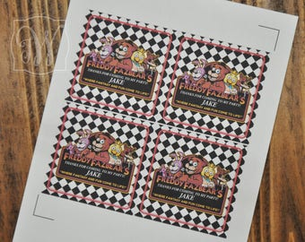 Five Nights at Freddy's labels, Five Nights at Freddy's stickers, Five Nights at Freddy's labels for goodie bags, Boys Birthday
