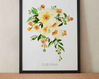 Orange Yellow Peonies Craspedia Watercolor Painting, Peony Flowers, Printable Art, Original art, Floral Wall Art, Instant Download