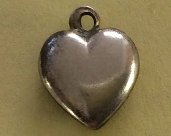 Sterling silver puffy heart charm vintage #283 s