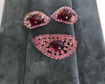 Vintage Pink and Red Rhinestone Brooch and Cilp Earrings