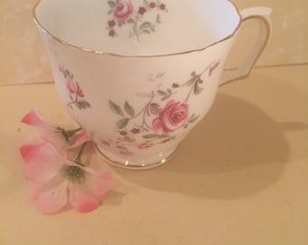 Vintage Tea Cup Crown Staffordshire English Rose , Fine Bone China Tea Cup