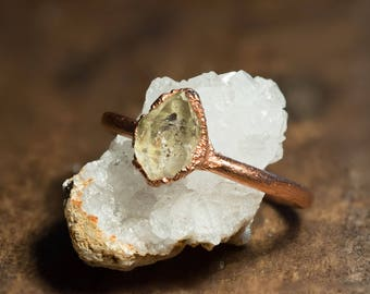 Copper ring with Herkimer diamond/rough/wedding/engagement ring