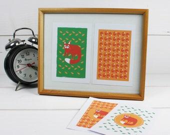 "Set of four illustrations ""Little fox"""