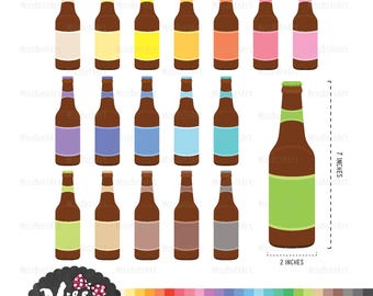 30 Colors Beer Bottles Clipart - Instant Download