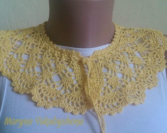 Yellow crocheted lace collar necklace Necklace crocheted Lace collar dress Romantic collar Necklace Women accessory Gift Elegant collar