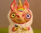 "Magic rainbow unicorn – Cute kawaii magical creature. Artist made doll, 4"", OOAK, natural clay. OlVik Dolls Ukraine"