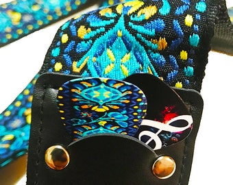 Hootenanny Guitar Strap - Woven Strap - Jacquard Guitar Strap, Blue Hippie Guitar Strap, Guitar Accessory, Gift For Guitar player