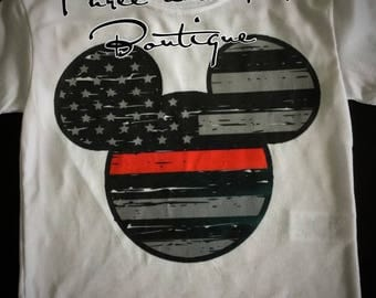 Thin Red Line Inspired Mouse Ears Onesie and at-Shurtd for Kids; Firefighter Support